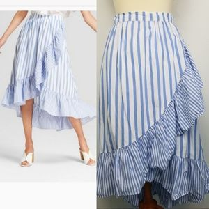 Who What Wear Blue Striped Ruffle High Low Skirt